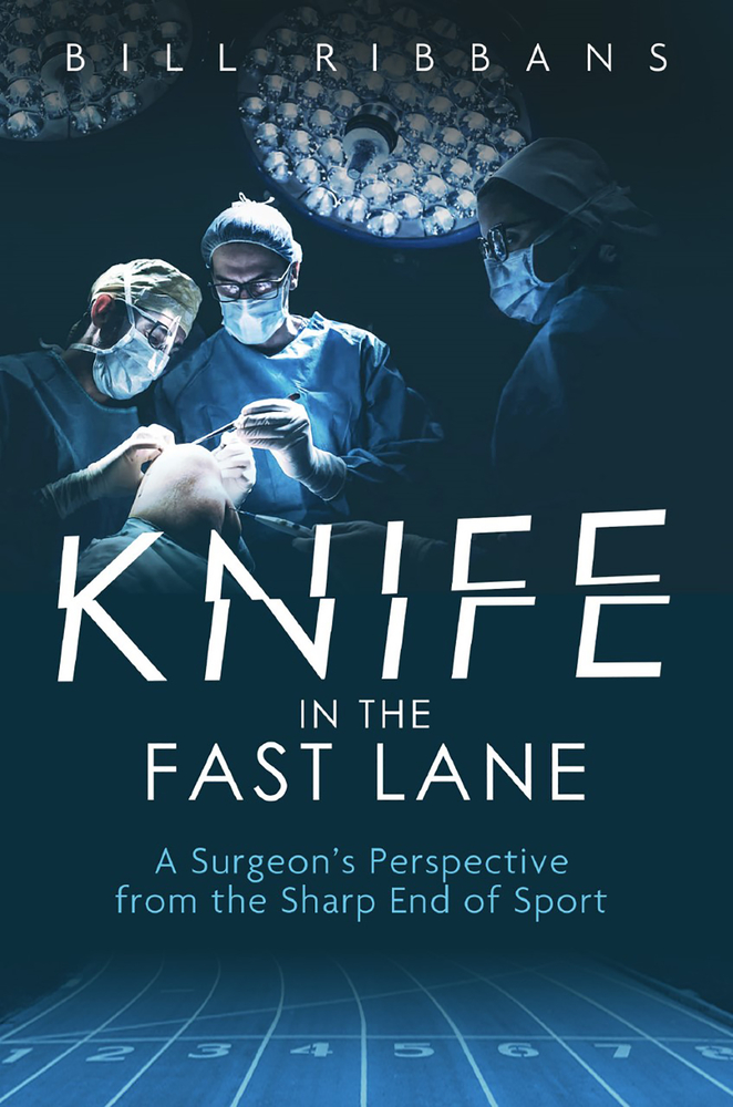 book cover in blue showing two surgeons over operating table