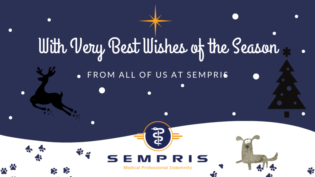 A snowy scene with midnight blue sky, a reindeer and dog and message 'Very best wishes from SEMPRIS'